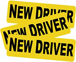 """3pcs New Driver Vehicle Car Bumper Sticker Decal Safety Sign 9""""x3"""" Black Block Lettering on Neon Yellow Background One for Each Side and The Rear"""