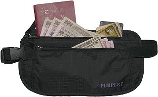 PURPLE 7 多機能セキュリティマネーベルト パスポートや現金などの貴重品収納に 超軽量&通気性抜群 フリーサイズ ウエストポーチ 海外旅行時の盗難防止!