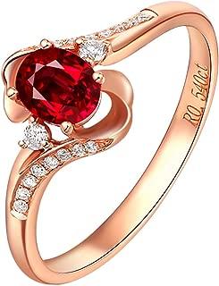 Mujer 18K Oro Rosa Anillo 0.5CT Ovalada Forma Rubí Diamante Anillo Eternidad Aniversario Boda Banda Anillo