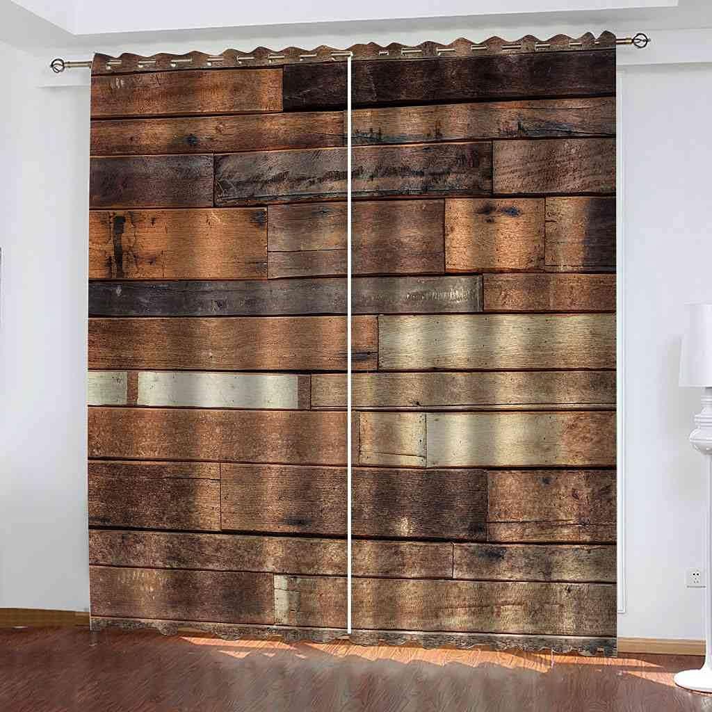 BFYRYL Blackout Curtains Japan Maker New Vintage Factory outlet Wood Printing 3D Plank Pattern