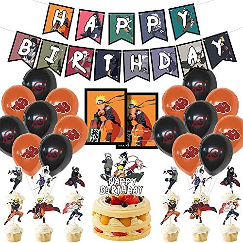 LLMZ Kit Globos Látex 42PCS Naruto Theme Party Set Anime Japonés Naruto Anime Happy Birthday Adorno de Torta para Space Werewolf Kill Decoración para Fiestas de Cumpleaños