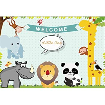 Amazon Com Lfeey 7x5ft Cute Baby Shower Backdrop For Boy Cartoon Zoo Giraffe Lion Elephant Panda Photo Background Expectant Mother Gender Reveal Party Photoshoot Cloth Wallpaper Camera Photo
