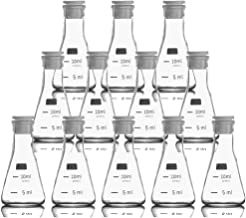 10ml Mini Erlenmeyer (Conical) Flasks with Silicone Stopper and Scale Mark,3.3 High Borosilicate LAB Glassware (12)