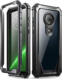 Moto G7 Rugged Clear Case, Poetic Full-Body Hybrid Shockproof Bumper Cover, Built-in-Screen Protector, Guardian Series, DO NOT FIT Moto G7 Power Or Moto G7 Play, Black/Clear