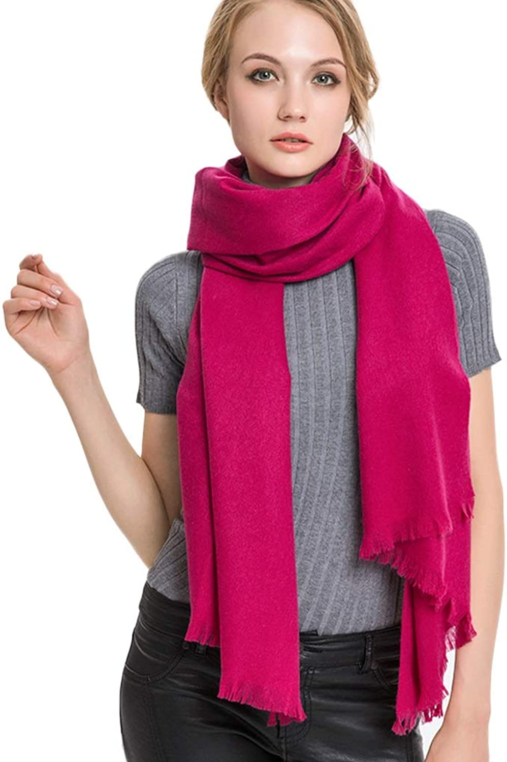 Cold Weather Scarves Women's Scarves Red Ladies Scarf Ladies Wrap Shawl Soft Warm Scarf Autumn and Winter Thin Scarf Students Long Paragraph Wild Shawl Wraps (color   pink Red, Size   200  60cm)