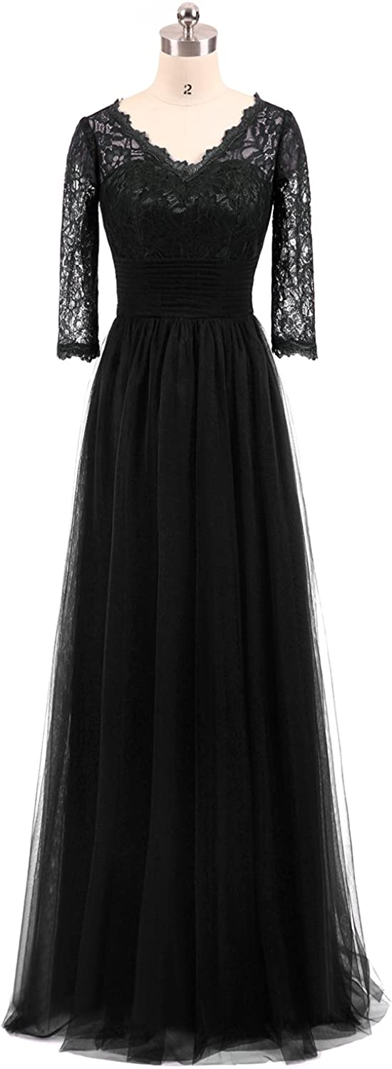 Miao Duo Women's Long V Neck Lace Evening Bridesmaid Dress with Half Sleeves Formal Gown 41PM