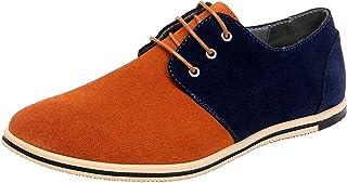 WUIWUIYU Homme Classic Chaussures de Ville Cuir Suede Oxfords à Lacets Derbies
