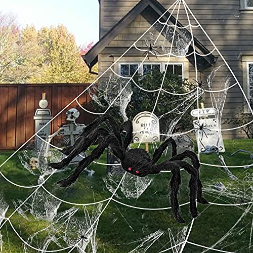 200″ Halloween Spider Web + 49″ Giant Spider Decorations Fake Spider with Triangular Huge Spider Web for Indoor Outdoor Halloween Decorations Yard Home Costumes Parties Haunted House Décorv
