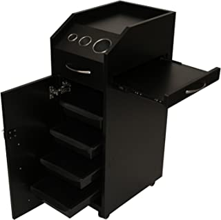 LCL Beauty Locking 4 Drawer Rolling Workstation Trolley with Tool Holders & Nesting Utility Shelf