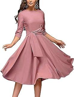 078b3d565 Women's Elegance Audrey Hepburn Style Ruched Dresses Round Neck 3/4 Short Sleeve  Pleated Swing