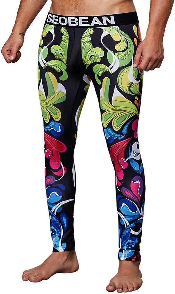 LISTHA Fashion Pants Men's Print Cotton Breathable Sports Leggings Thermal Long Johns Underwear Pants