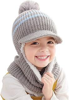 YONKINY Bambino Cappello Invernali Caldo Antivento Sciarpa con Cappuccio Passamontagna Cappello Inverno