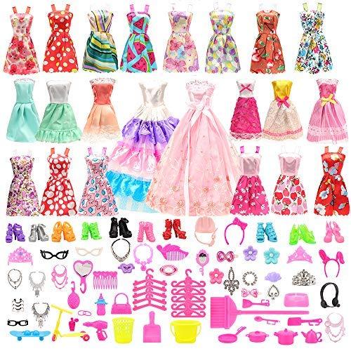 Barwa バービー用服 バービー用ドレス バービー人形用服 EU CE-EN71認証 125枚セット =15枚バービー用服+110種類アクセサリー 1/6人形用 子供の日
