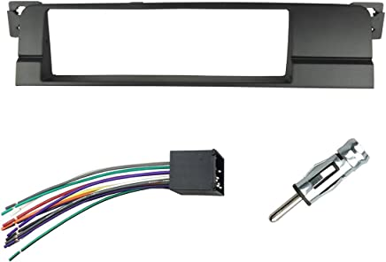DKMUS Dash Installation Trim Kit for BMW 3 Series M3 E46 One Din Radio Stereo Panel with Wiring Harness Antenna Adapter