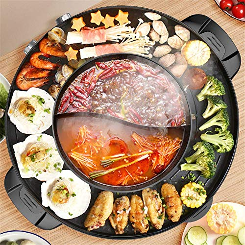 2200W 2 in 1 Electric Smokeless Grill and Hot Pot 110V Split Easy Cleaning Dual Temperature Control(US STOCK)