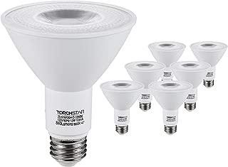 TORCHSTAR PAR30 LED Flood Light Bulbs Long Neck, 12W 75W Equiv., Wet Location Dimmable, High CRI90+, Energy Star & UL Listed, 5000K Daylight, 840Lm, E26 Medium Screw Base, Pack of 6