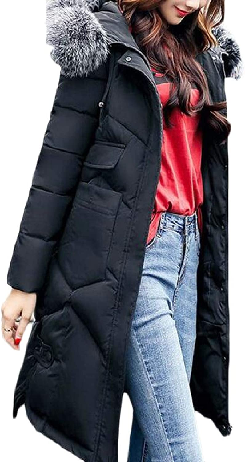 SmeilingCA Women's Faux Fur Hooded Thickened Down Jacket Down Parka Puffer Coat