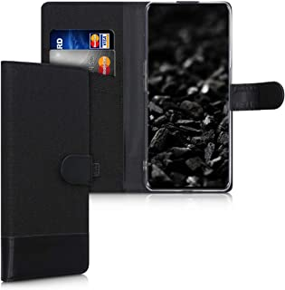 kwmobile Case Compatible with Oppo Find X2 Neo - Wallet Case Fabric and PU Leather Phone Flip Cover with Slots - Anthracit...