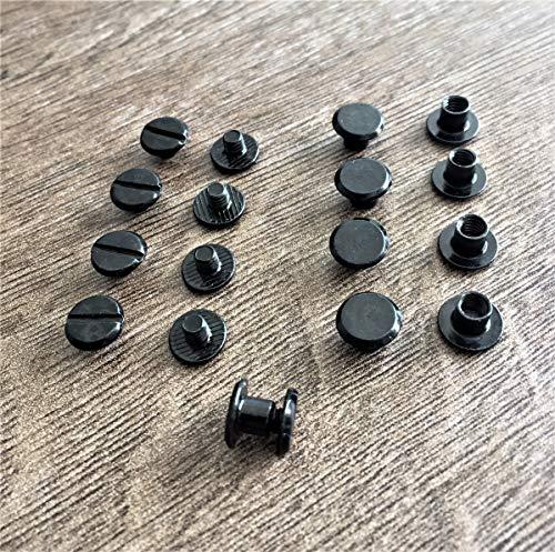 Buchschrauben für Leder Buchnieten Gürtelschrauben Chicagoschrauben schwarz 50 Stk.