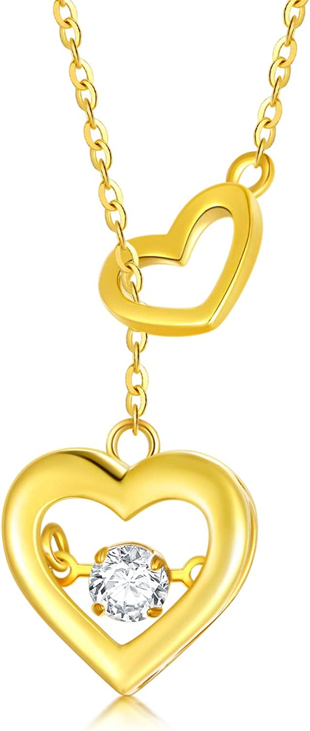 SISGEM 14K Real Gold Dancing Heart Necklaces for Women Girls,Beating Heart Pendant Lariat Y Necklaces with Dancing Moissanite,Fine Jewelry for Wife,Adjustable Chain 16''+2''
