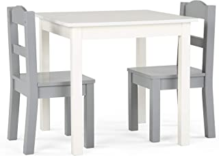 Tot Tutors Table and Chair, 3-Piece, Grey/White