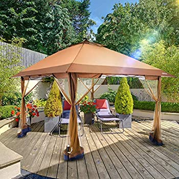 Suntime Outdoor Pop Up Gazebo Canopy with Mosquito Netting