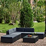 Songtree <span class='highlight'><span class='highlight'>Rattan</span></span> Garden Furniture 6 Pieces Set Patio Conservatory Wicker Coffee Corner Table Indoors Outdoors (Black wicker   dark gray cushions)