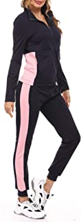 Women's 2 Piece Tracksuits Contrast Color Long Sleeve Zip Jacket Striped Joggers Pants Set