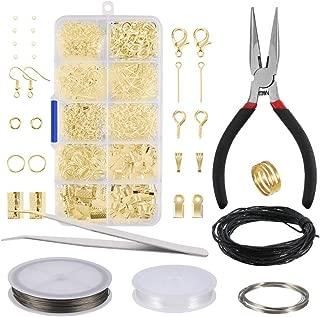 Kit de Hacer Bisutería ,Kit de Accesorios de Joyería 912 piezas Oro Joyería Artesanía Material en Caja de Plástico con Herramientas de Reparación de Joyas para Gacer Braceletc Necklace Jewelry Craft