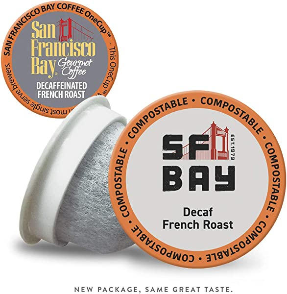 SF Bay Coffee DECAF French Roast 36 Ct Natural Water Processed Dark Roast Compostable Coffee Pods K Cup Compatible Including Keurig 2 0 Packaging May Vary