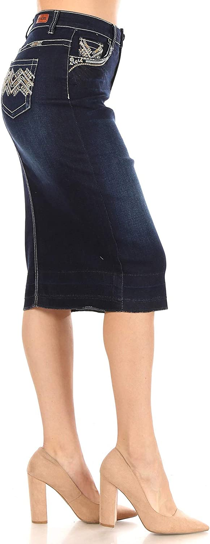 Fashion2Love Women's Juniors/Plus Size Calf- Length Pencil Stretch Denim Skirt (77851)