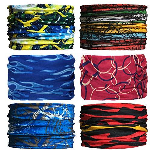 Sea Team 6 pièces/Paquet Bandanas imprimés Multifonctions Tissu, 12 Styles écharpe Choix, Bandeau, Moto Bandana, écharpe ect. (D-8)