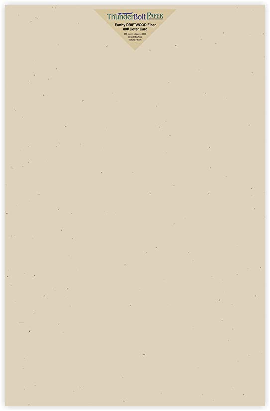 25 Earthy Driftwood Fiber 80# Cover Paper Sheets - 11