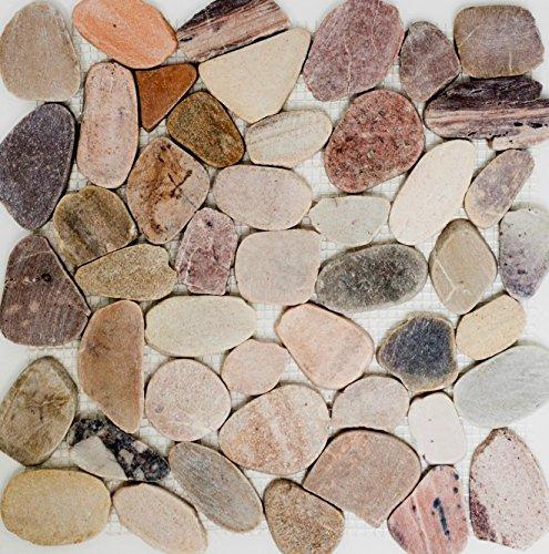 Mosaik Kiesel geschnitten mix beige/grau/rot Flußkiesel Steinkiesel Flussstein Kieselmosaik Wohnzimmerwand Küchenwand Boden Fliesenspiegel Spritzschutz Küche Duschwand Mosaik, Mosaikstein Format: 30-80x9 mm, Bogengröße: 315x315 mm, 10 Bögen