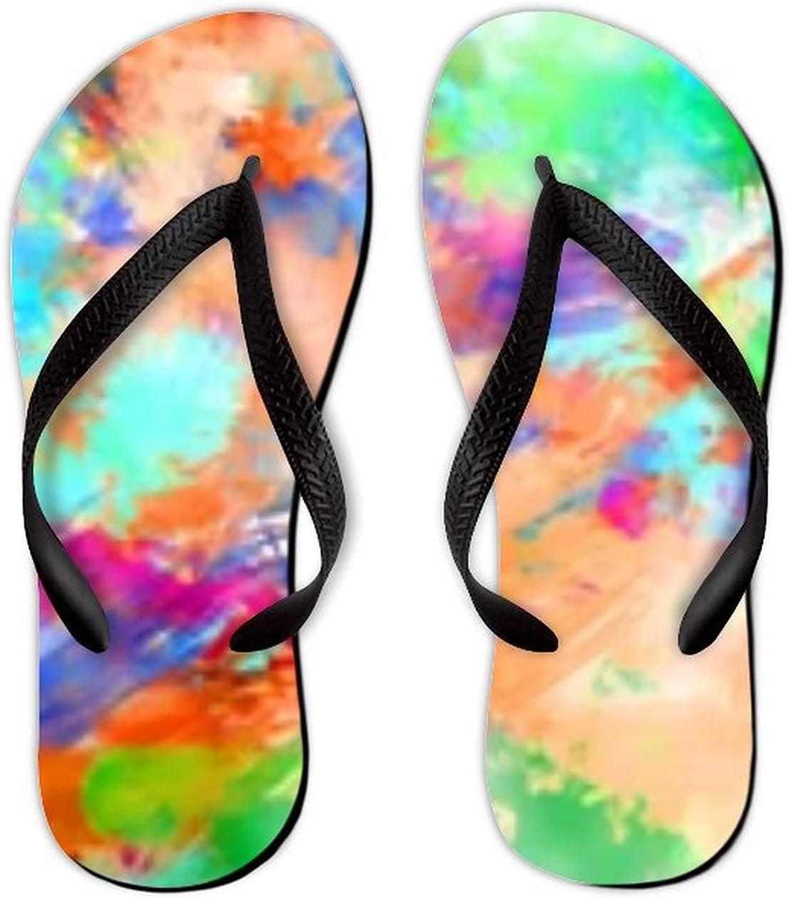 Summer Flip Flops for Men Women 2D Illustration Colorful Strokes Soft Lightweight Non Slip Sandals for Shower Beach Pool Bathroom Flat 11.5