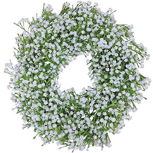 Supla Artificial Baby's Breath Garland Faux White Gypsophila Flower Vine Garland Hanging Wedding Flower Garland 6.1' Long 5.1' Wide for Wedding Arch Table Runner Backdrop Decoration