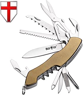 Swiss Army Knife Multi Function - Compact Olive Multi Purpose Folding Pocket Knife Mini Utility Tool - Steel Knife with Blade, Scissors, Corkscrew - Grand Way 62005
