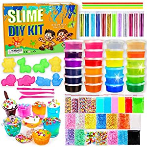 DIY Slime Kit-Ultimate Glow in The Dark Glitter Slime Making Kit- Slime Kit for 3 4 5 6 7 8 9 10 11 12 Year Old Girl and…