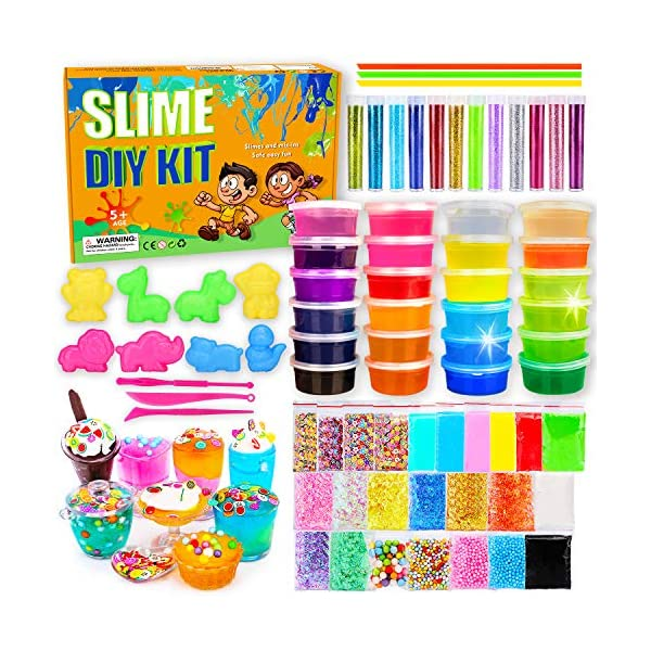 DIY Slime Kit-Ultimate Glow in The Dark Glitter Slime Making Kit- Slime Kit for 2 3 4 5 6 7 Year Old Girl and Boy Party Best Choice 3