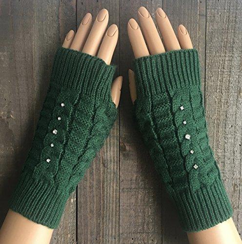 Fingerless Gloves for Women Cable Knit Green Rhinestone Arm Warmers Black White Beige Burgundy Red Winter Mittens Hand Warmers Rhinestone Handmade