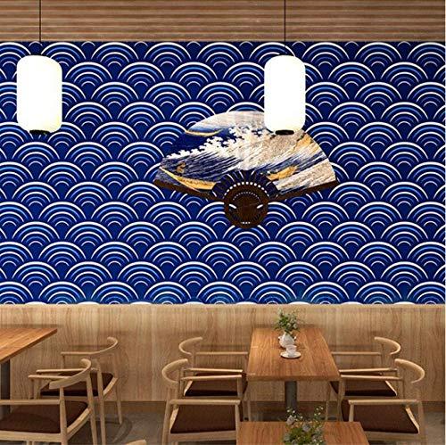 Tema KTV Carta da parati dipinta a mano della decorazione del ristorante di sushi della parete e del vento della parete del fondo dell'onda del mare della carta da parati di stile giapponese 3D-5