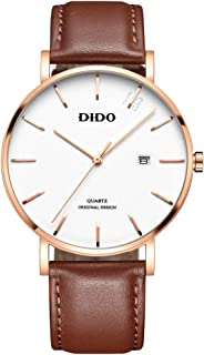 Watches for Men 40MM Watches for Women 29MM Watches for Couple Style Waterproof Japanese Quartz Movement Genuine Leather Strap with Date Classic Stylish Simplicity Male Female Wrist Watch D8853