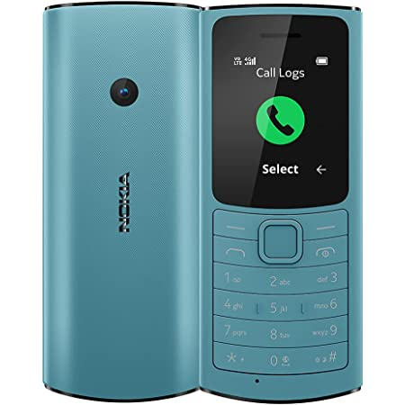 Nokia 110 4G with Volte HD Calls, Up to 32GB External Memory, FM Radio (Wired & Wireless Dual Mode), Games, Torch | Aqua (Nokia 110 DS-4G)