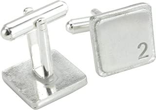 Square Cufflinks with '2' Engraved - 2nd Anniversary