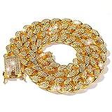 LIBRNTY Collar cubano,Hombres Cadena de Oro,dorado,no se desvanece fácilmente,se puede usar para regalos de cumpleaños,para amantes,para amigos,para novias,con Caja de Regalo (longitud 50cm)