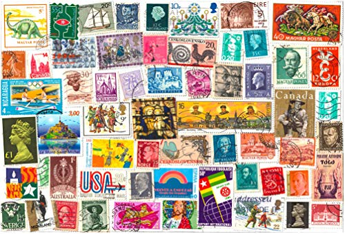 1000 Stamps from World Countries. Mixed Philately, Used Postage Stamps Off Paper
