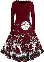 Aniywn Women Vintage Long Sleeve Swing Dress Halloween Housewife Evening Party Prom Printing Mini Dress