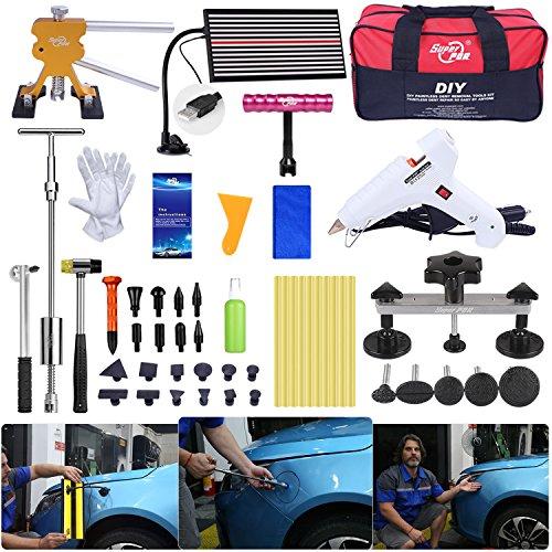 FLY5D Paintless Delle Reparatur Werkzeuge Entfernen Hagelschaden Werkzeug Schiebehammer Kleber Abzieher Reparatur Starter Set Kits für Auto Hagel Schäden und Tür Dings Reparatur 60-teilig