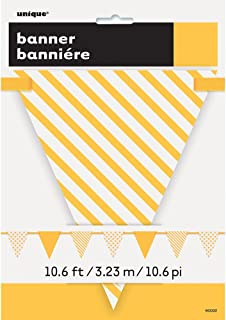 10.6 ft Yellow Polka Dot and Striped Pennant Banner