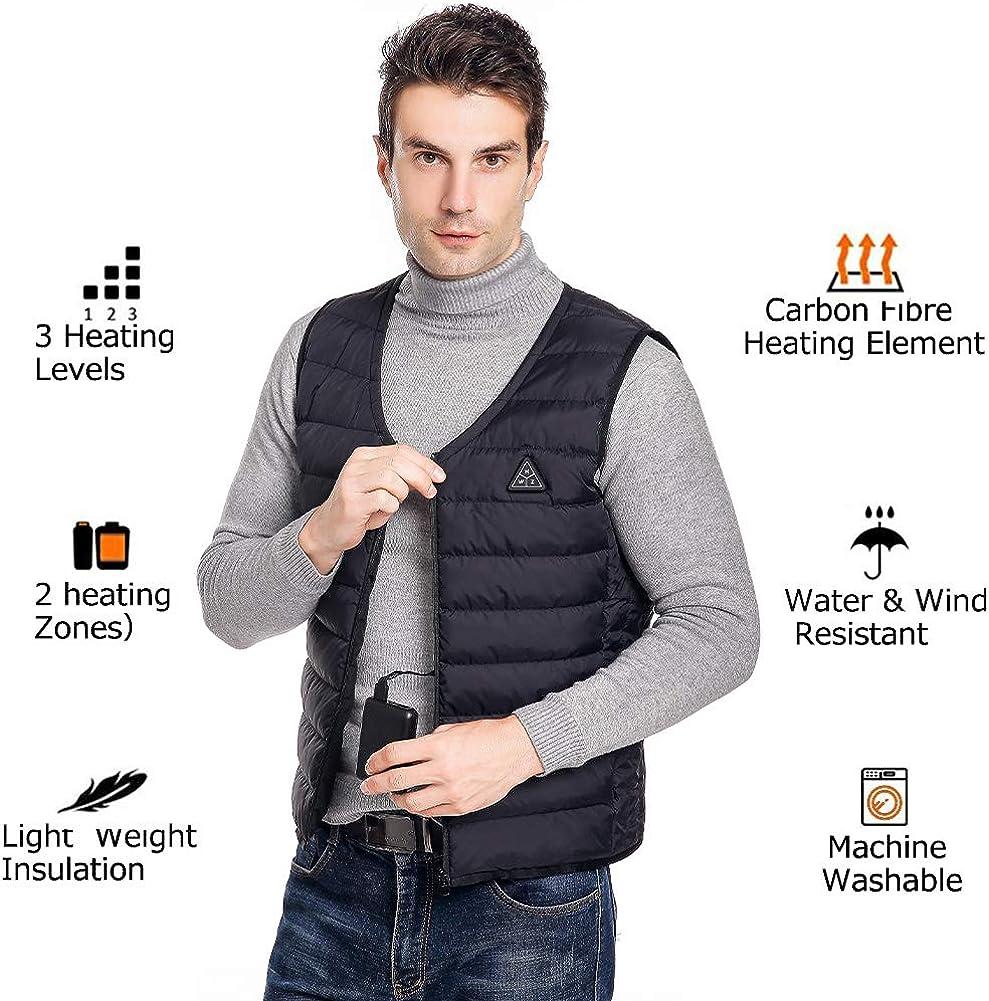Elektrische Beheizte Jacke USB Lade Heizweste mit 3 Fakultativ Temperatur Warme Jacke f/ür Outdoor Aktivit/äten Wandern Motorrad Camping Power Bank NICHT ENTHALTEN Beheizte Weste f/ür Herren Damen